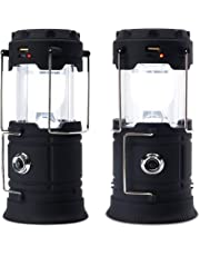 Solar Camping Light, USB Rechargeable Lantern Flashlight Outdoor Super Bright Recharge Portable Light for Cam, Emergency, Storm, Power Outage with Battery(2 Pack)