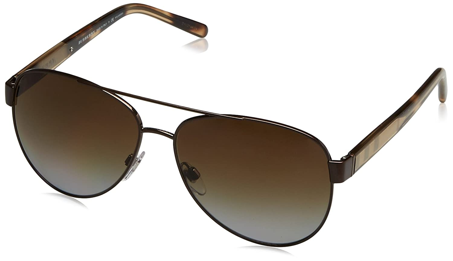 ce2d52eba5 Amazon.com  Burberry Women s BE3084 Sunglasses Brushed Brown Polar Brown  Gradient 60mm  Burberry  Clothing