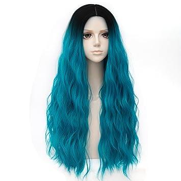 Negro Mezclado Azul Turquesa Largo 31 Pulgadas Rizado Peluca Cosplay a prueba de Calor Moda Lolita