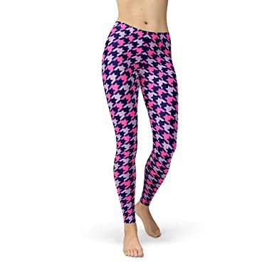 1625e8265f727 Houndstooth Leggings for Women Purple and Pink Checkered Pants ...