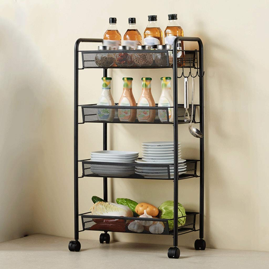 BLACK 4 layers Metal Mesh Rolling Cart Trolly Organizer Shelves Handle Portable Flower Stand Meal Rider Push Service Car (color   Black, Size   3 Layers)