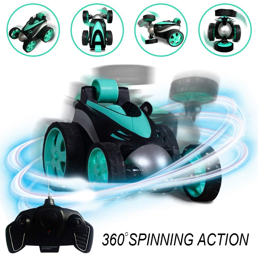 RC Vehicle Four Wheel Stunt Car, Remote Control Car, 360 Degree Rolling Rotating Rotation, Safe & Durable, Birthday Gift for Kids, Boys & Girls Lake Blue by PALA PERRA