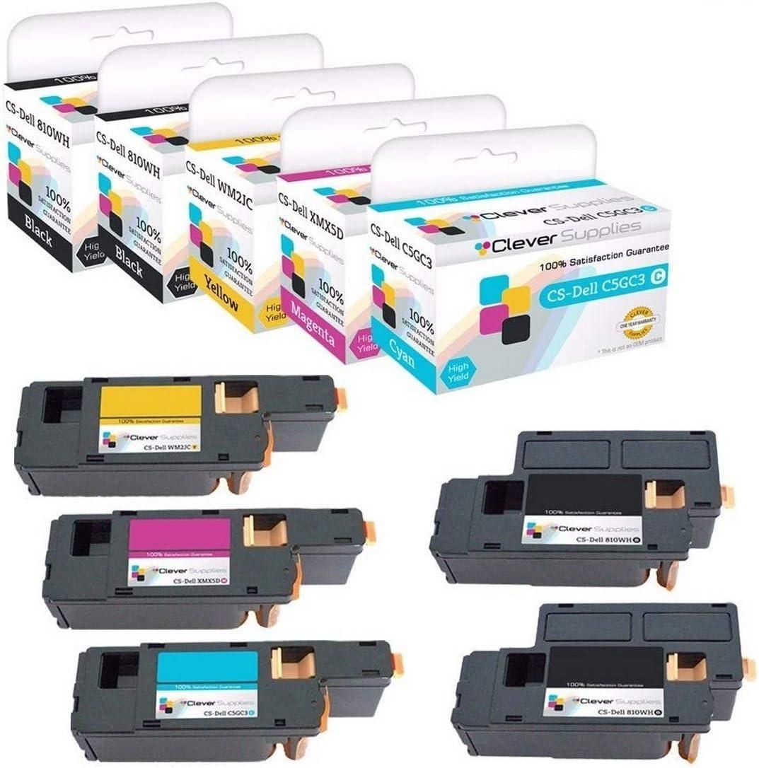 CS Compatible Toner Cartridge Replacement for Dell 1250 810WH Black C5GC3 Cyan XMX5D Magenta WM2JC Yellow 1250 1250c 1350 1350cnw C1760 C1760nw C1765 C1765nf C1765nfw 1355CN 1355CNW 5 Color Set