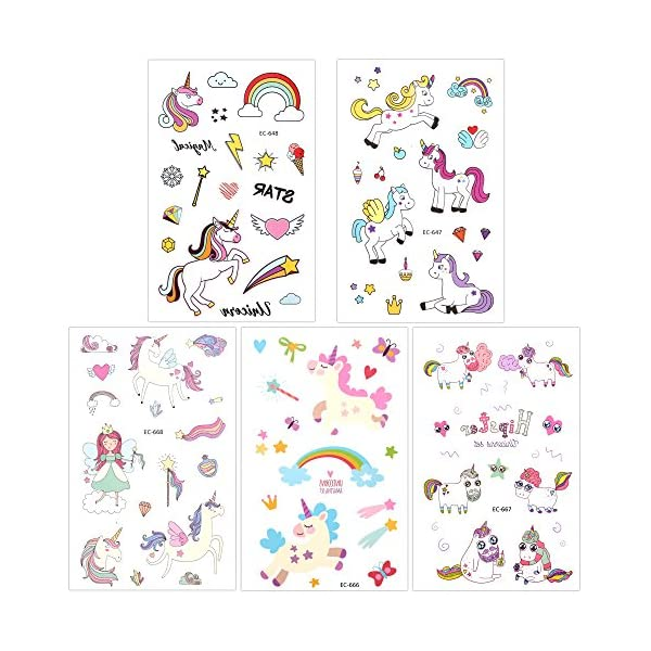 Girls Unicorn Temporary Tattoos, Konsait 145pcs Unicorn Tattoo Kids Unicorn Party Supplies Great Girls Party Favors For Children's Birthday Party Goody Bag Pinatta Fillers Beach Pool Party(13 Sheets) 4