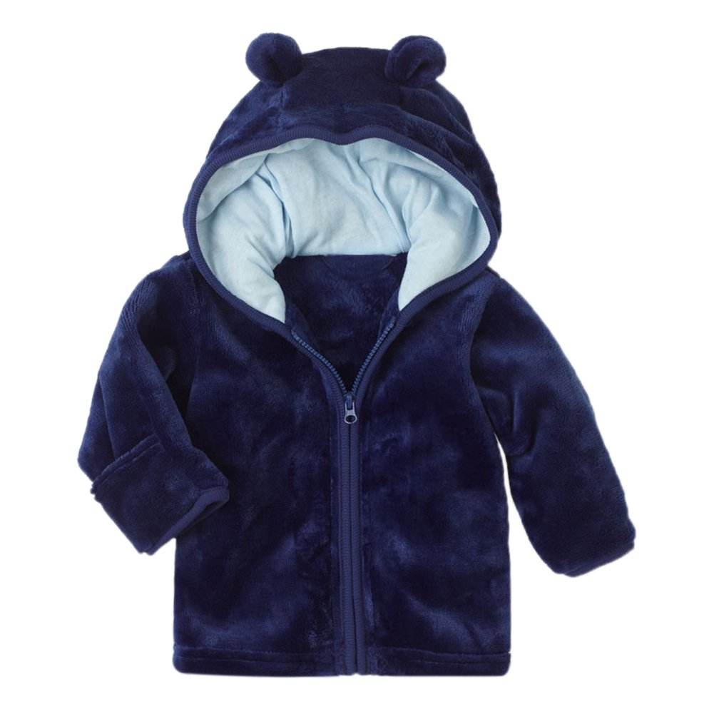 XWDA Baby Girl' Solid Micro Fleece Jacket With Lined Hood (6-9 Months, Blue) by XWDA