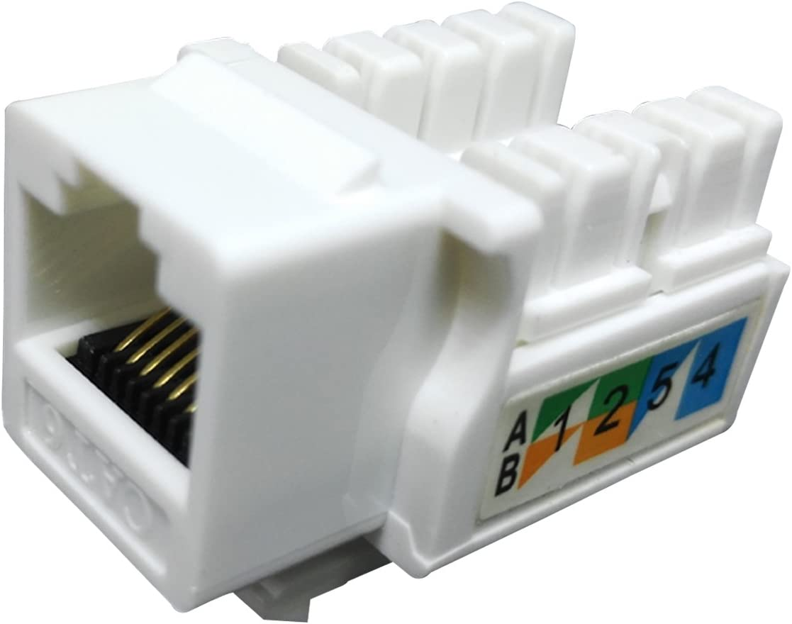 10x Cat5E RJ45 F//F Ethernet Network Coupler Snap-In Jack For Keystone Wall Plate