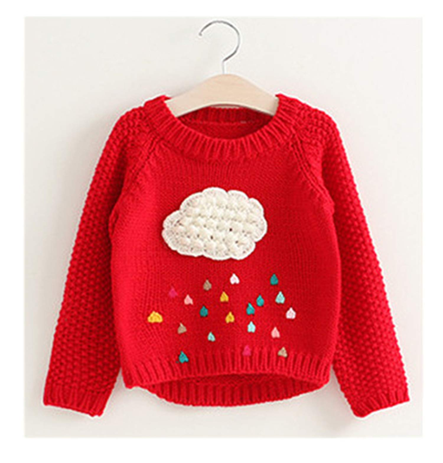 New Cartoon Clouds Pullover Raindrop Printed Thick Sweater Top for Children's Kids Clothes Red 4T