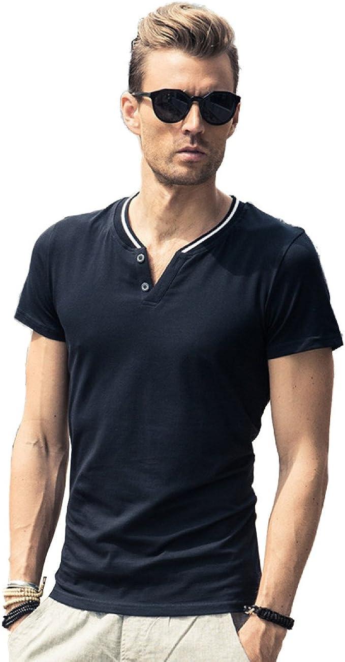 HM. Verano Nueva Camisa de Los Hombres Simples Slim de Manga Corta A Rayas con Cuello EN V Camiseta Coreana Marea Ropa de La Marca, C-XXXXL: Amazon.es: Ropa y accesorios