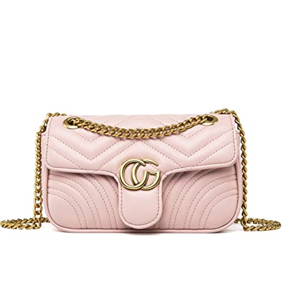 1c38624b5901 Fashion Shoulder Bag Leather Crossbody Lattice Handbag Quilted Purse for  Woman Teen Girls (Pink Leather Small)