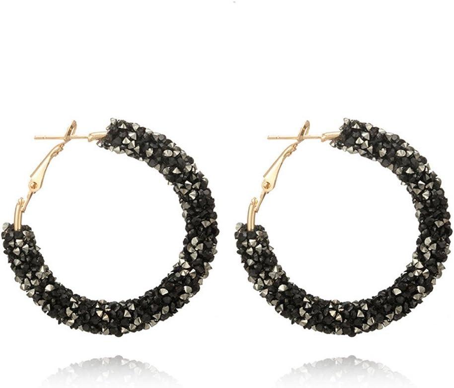 Retro 18k Silver Gold Filled Black Pearl Topaz Women Lady Banquet Hoop Earrings