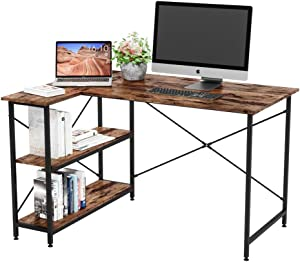 Bestier Computer Desk with Storage Shelves Small L-Shaped Corner Desk with Bookshelf 47 Inch Writing Desk Table with Storage Tower Home Office Desk for Small Spaces P2 Wood (Rustic Brown)