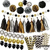 Black Gold Silver Party Decorations - Huge Pack of 115 - Paper PomPoms | Paper Tassels | Paper Straws | Circle Garland | Balloons, Great Decorations Kit with Straws Black Silver Decor Set Black