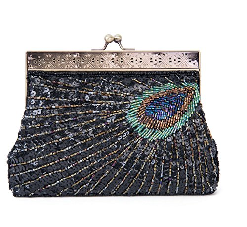 Kaever Women's Retro Beaded Sequins Peacock Clutch Evening Bag Wedding Handbag (Black)