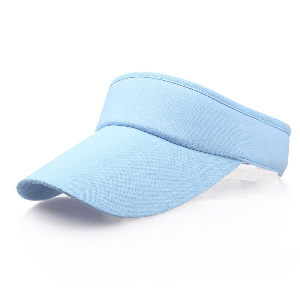 Unisex Sun Sports Visor Large Brim Summer UV Protection Beach Cap Top Level 100% Cotton Cap Outdoors Quick Dry Hat (Sky Blue) by Cealu (Image #2)