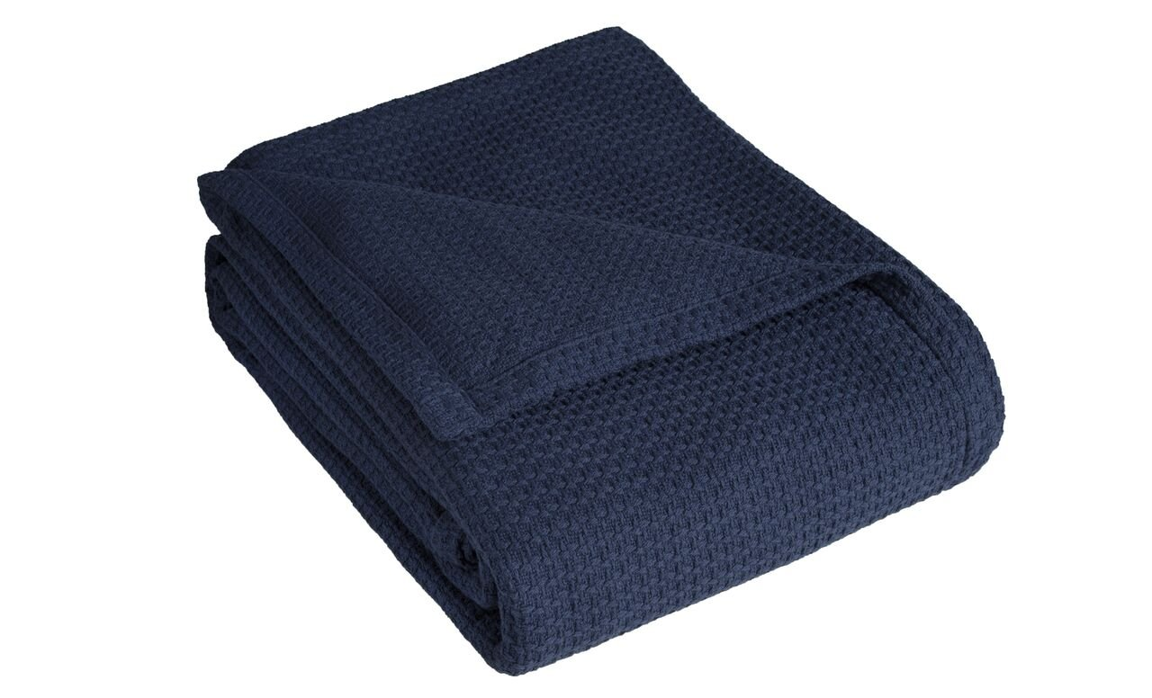Elite Home Products Grand Hotel Cotton Blanket, Full/Queen, Navy