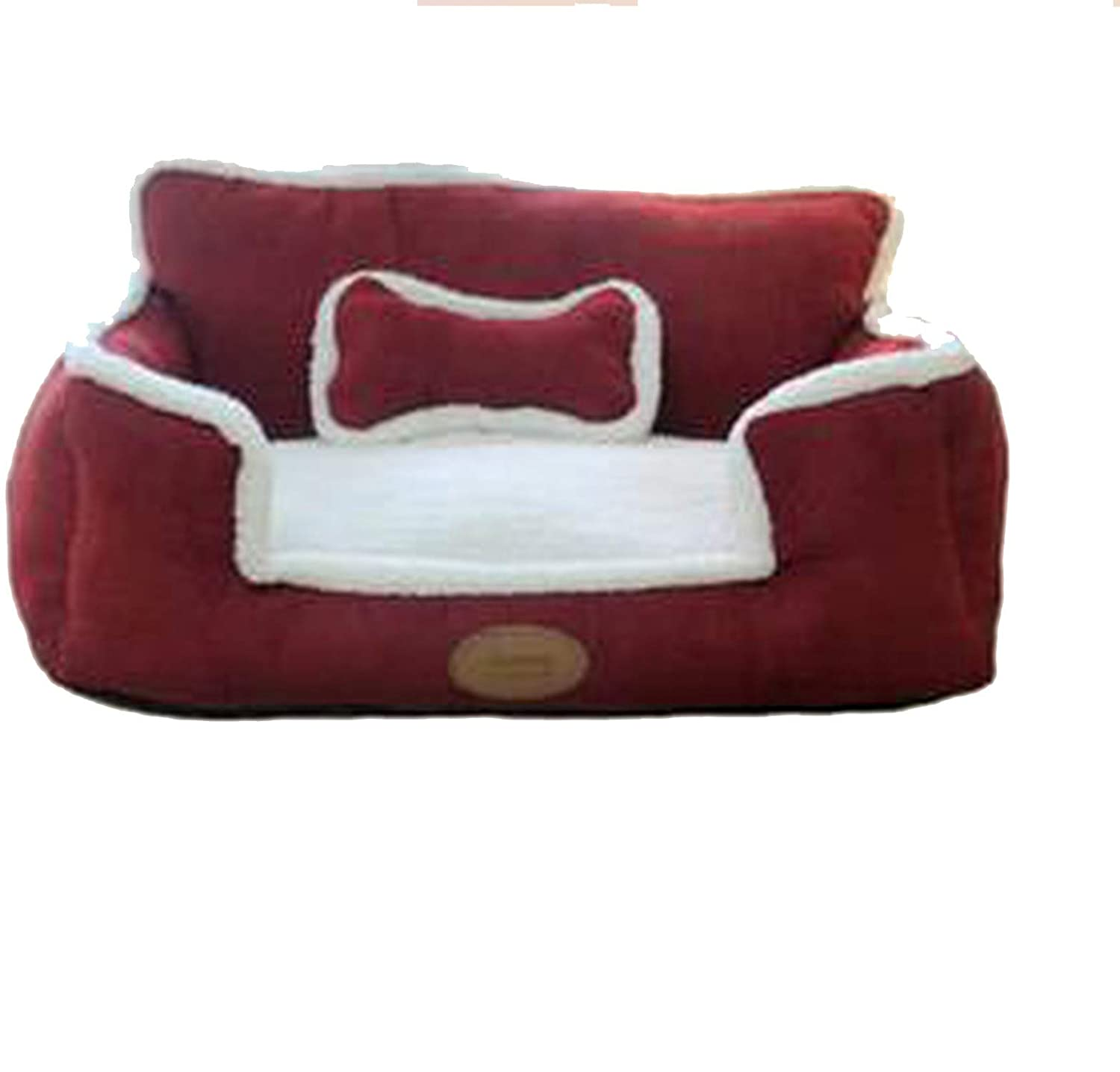Red 75x60cm red 75x60cm sevenTimes Luxury Pew Nest Detachable Washable Dog Kennel House Soft Warm Cat Litter Puppy Bed Comfortable Large Pet Sofa Mat Cushion,Red,75X60Cm