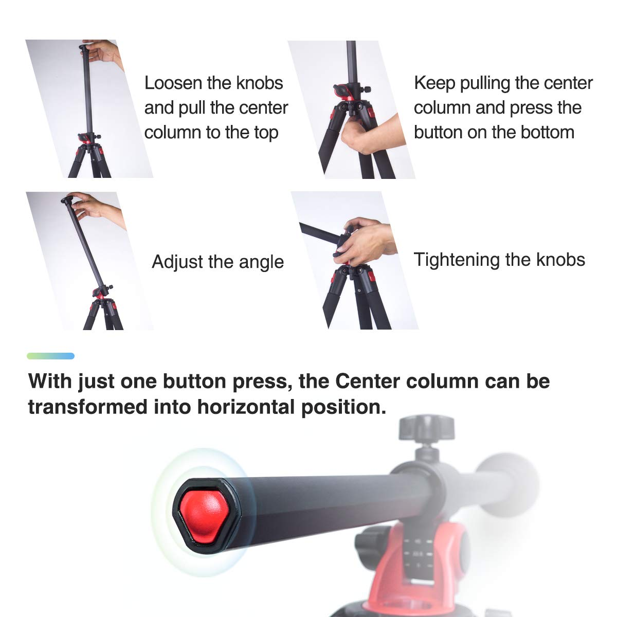 Moman Camera Tripod with Telescopic Horizontal Column Arm and Ball Head for Macro Shoot/Overhead Photography/Travel / DSLR Camera Video Camcorder by Moman (Image #7)