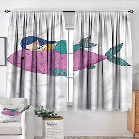Amazon.com: Sanring Mermaid,Boys Bedroom Backout Curtains ...