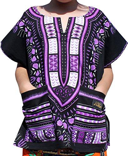 Raan Pah Muang RaanPahMuang Branded Childrens African Dashiki Short Sleeve Shirt In Black Tones, 6-8 Years, Black Purple