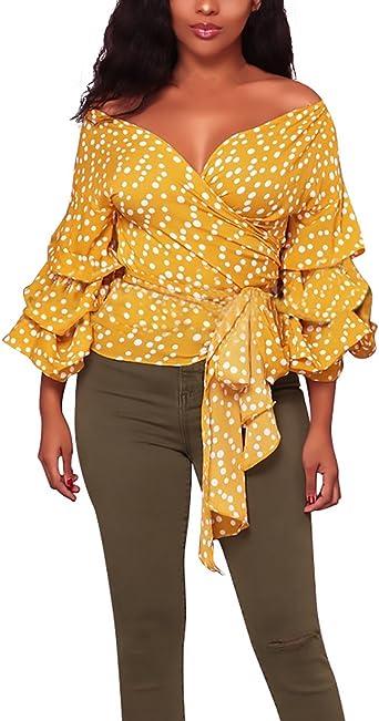 Camisas Mujer Elegantes Lunares Blusas Cuello Barco Mangas De ...