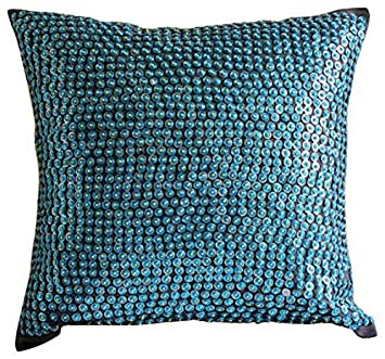 Amazon.com: Lujo Azul Fundas de Almohada decorativos, dotted ...