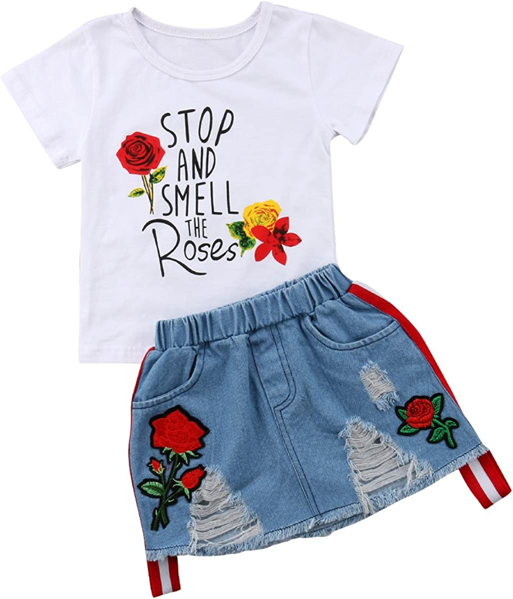 Denim Skirts Clothing Outfit Set Toddler Baby Girls Smell The Rose T shirtTops