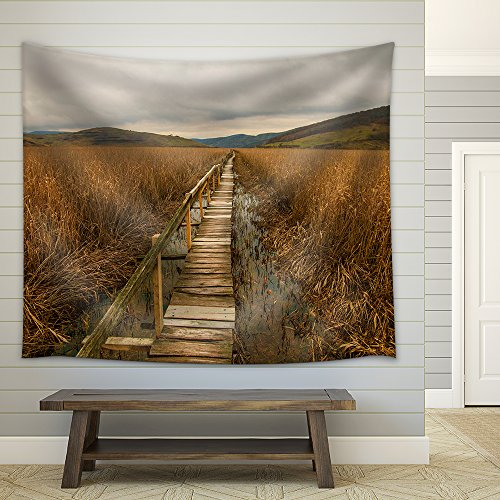 Wooden Path Through Field Fabric Wall Tapestry