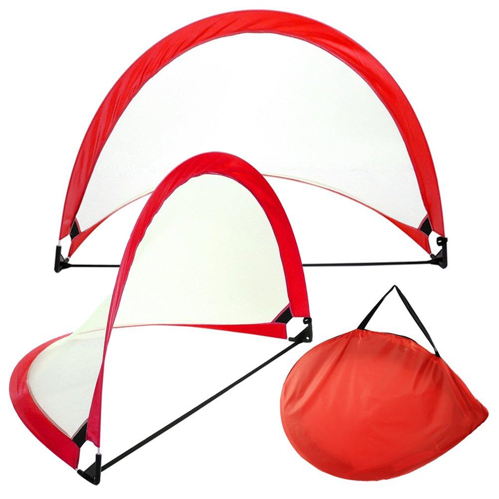 Odowalker Portable Fußballtor-Set zusammenklappbar Pop Up Soccer Net für Backyard und Praxis Play (1 Paar Netze in 1 Tragetasche)