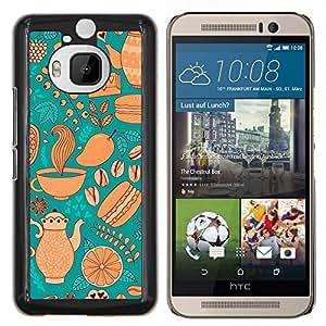 For HTC One M9+ / M9 PLUS - Modern Teal Golden Design Dise???¡Ào Protecci????n Cubierta de la caja ultra delgada de Snap de pl????stico duroco duro - God Garden -