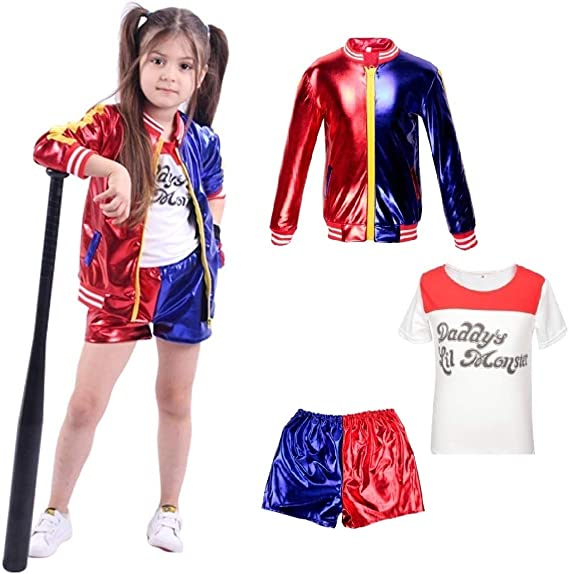 Kids Harley Quinn Vestiti per Ragazze Suicide Squad Coat + Shorts + T Shirt Set Suit Rosso