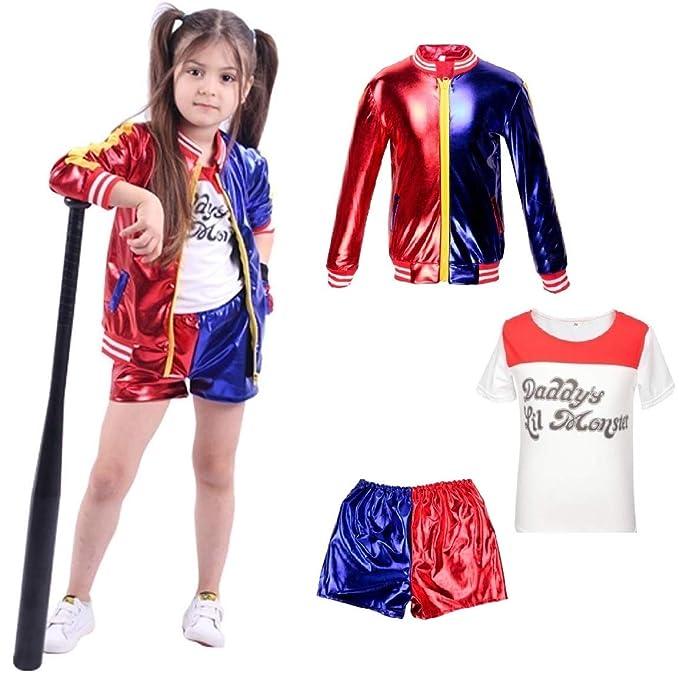 Niños Harley Quinn Ropa para niñas Suicide Squad Abrigo + Pantalones Cortos + Conjunto de Camiseta Traje Rojo