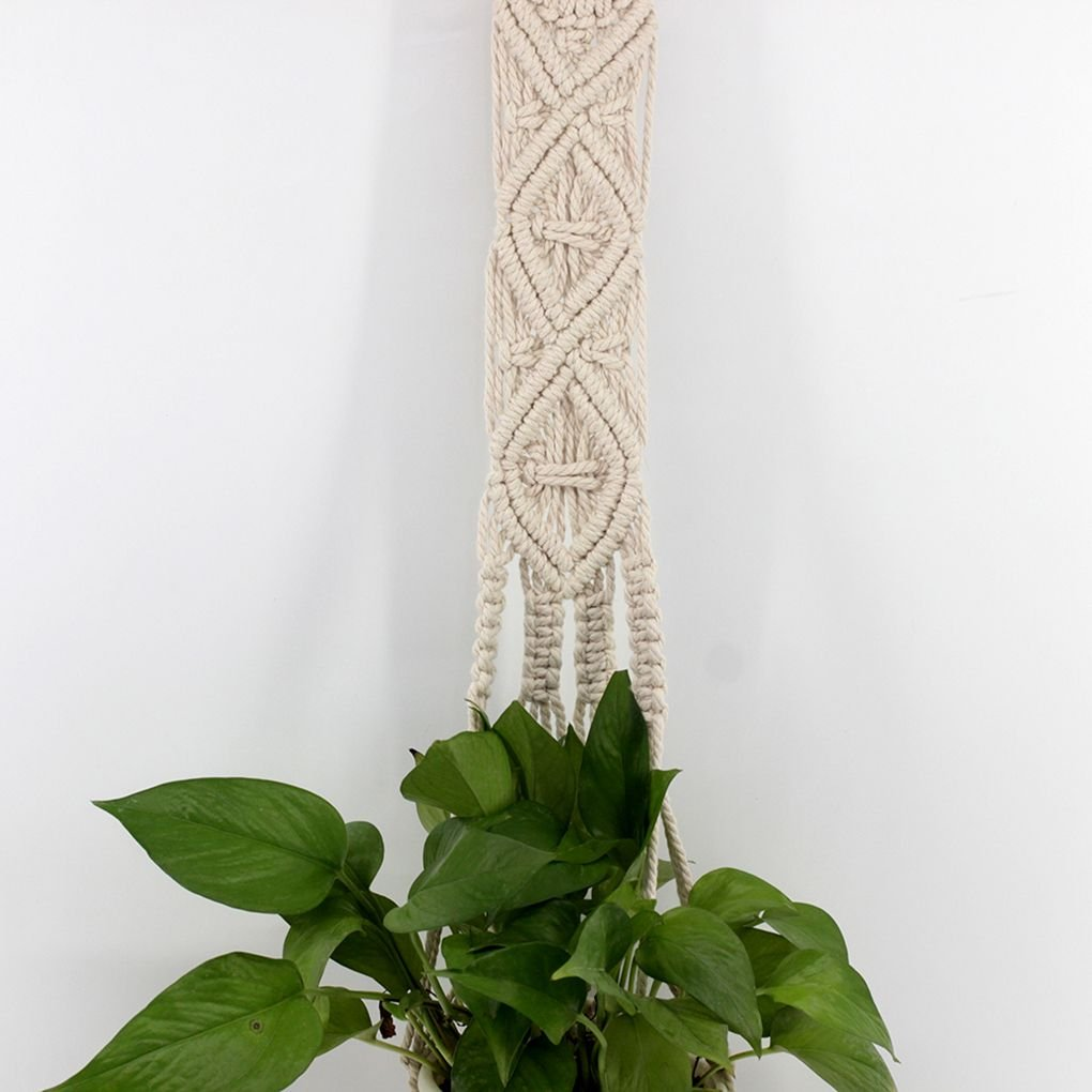 Ben-gi 128cm Makramee-Betriebsaufh/änger Indoor Outdoor Hanging Planter Basket Cotton Rope Tassel Wandteppiche
