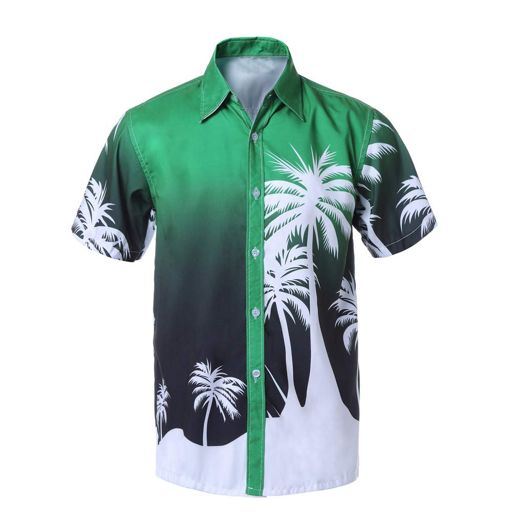 Fabal Men Hawaiian Print Short T-Shirt Sports Beach Quick Dry Blouse Top Blouse