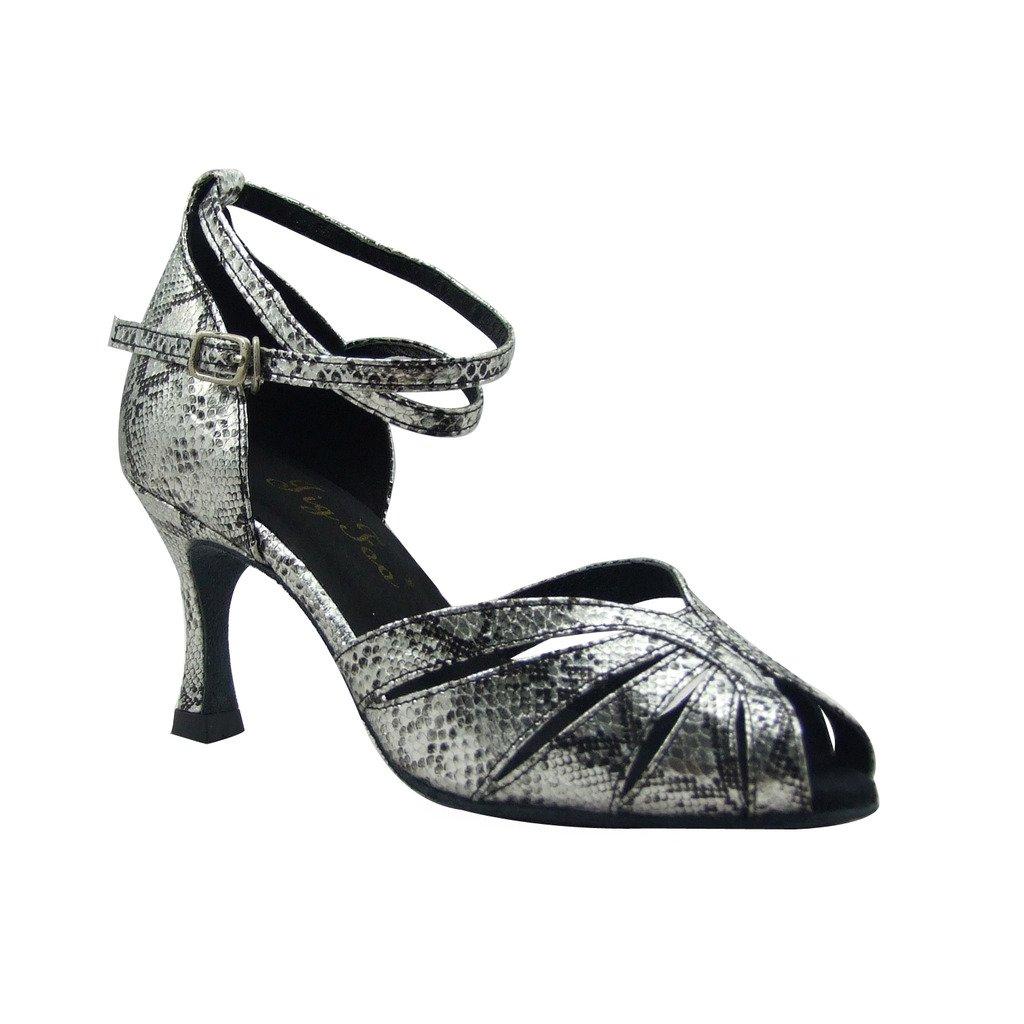 Jig Foo Sandales Open-Toe Latine Salsa Tango Chaussures de Danse de Piste de Danse pour Femme avec Talon 7cm