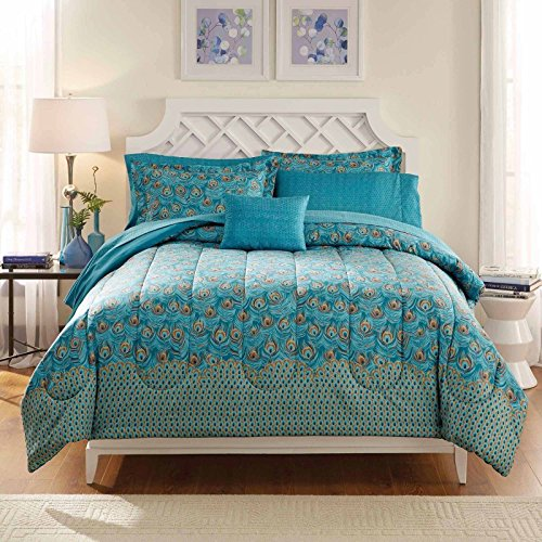 King Size Peacock Design Comforter Unique Colors Bedding Set Blue Teal Feather Pattern with Pillow