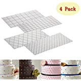 (Set of 4)Fondant Impression Mat Mould Diamond & Quilted Grid Texture Embossed Design- Plastic----Cake Decorating Supplies for Cupcake Wedding Cake Decoration Tools