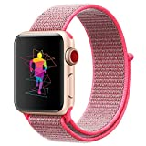 INTENY Sport Band Compatible for Apple Watch 38mm, Breathable Nylon Sport Loop, Strap Compatible for iWatch Series 3, Series 2, Series 1, Hermes, Nike+, Edition (Hot Pink, 38mm)