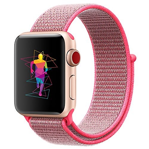 INTENY Sport Band Compatible with Apple Watch 40mm, Soft Lightweight Breathable Nylon Sport Loop, Strap Replacement for iWatch Series 4 (Hot Pink, 40mm)