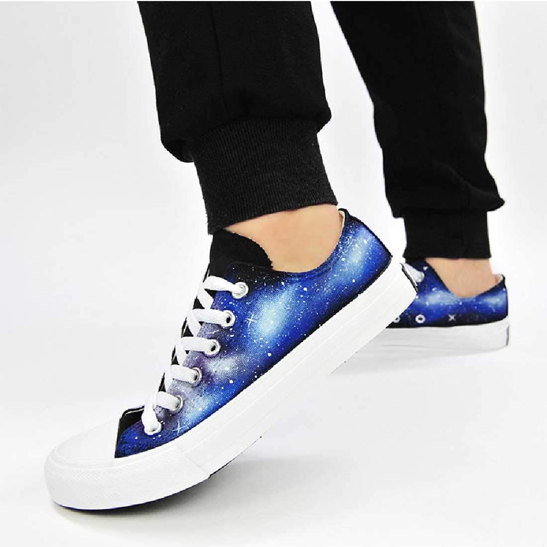 TBLQ Hand-Painted Shoes Neutral Canvas Shoes Mens And Womens Shoes Large Size Casual Shoes,Blue-35