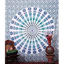 Indian-hippie Bohemian-psychedelic-art Peacock-mandala Wall-hanging-tapestry-blue-sky Queen-size-large-84x90