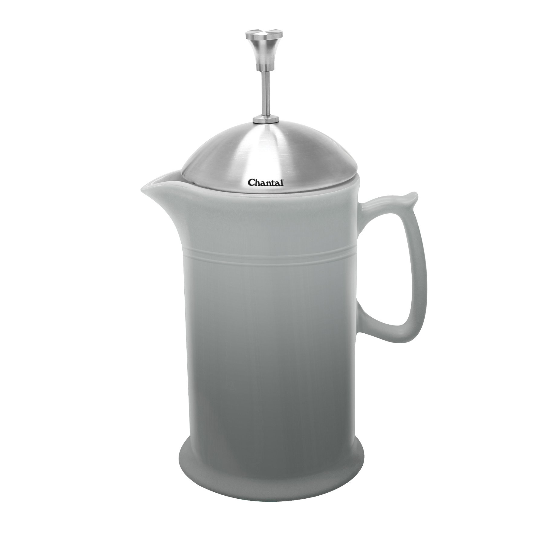 Chantal 92-FP28 FG Ceramic French Press with Stainless Steel Plunger/Lid, Fade Grey by Chantal