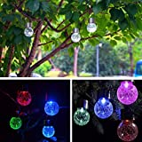 4PC Waterproof Solar Rotatable Outdoor Garden Camping Hanging LED Round Ball Lights, Tuscom (Multicolor)