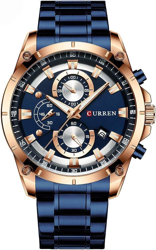 Curren - Reloj de cuarzo para hombre, multifunción, impermeable, multifunción, reloj de cuarzo