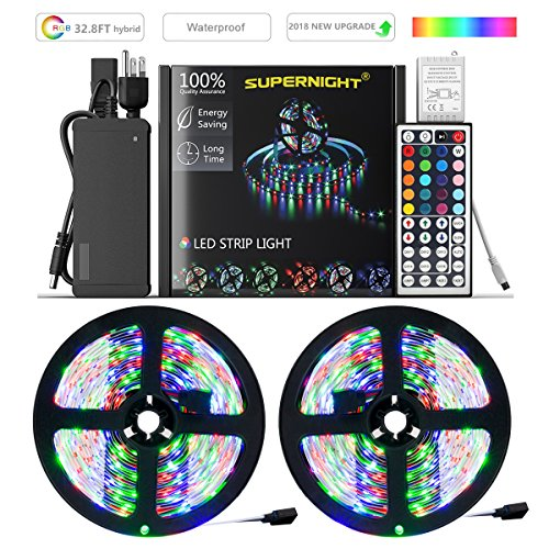 SUPERNIGHT LED Strip Lights,TWO 16.4Ft LED Light Strip Kit Non-Waterproof DC12V 3528 RGB【NO White Color】300leds Flexible Strip Lights with Double PCB 44Key Remote,Stronger Adhesive Tape and 5A Adapter by SUPERNIGHT