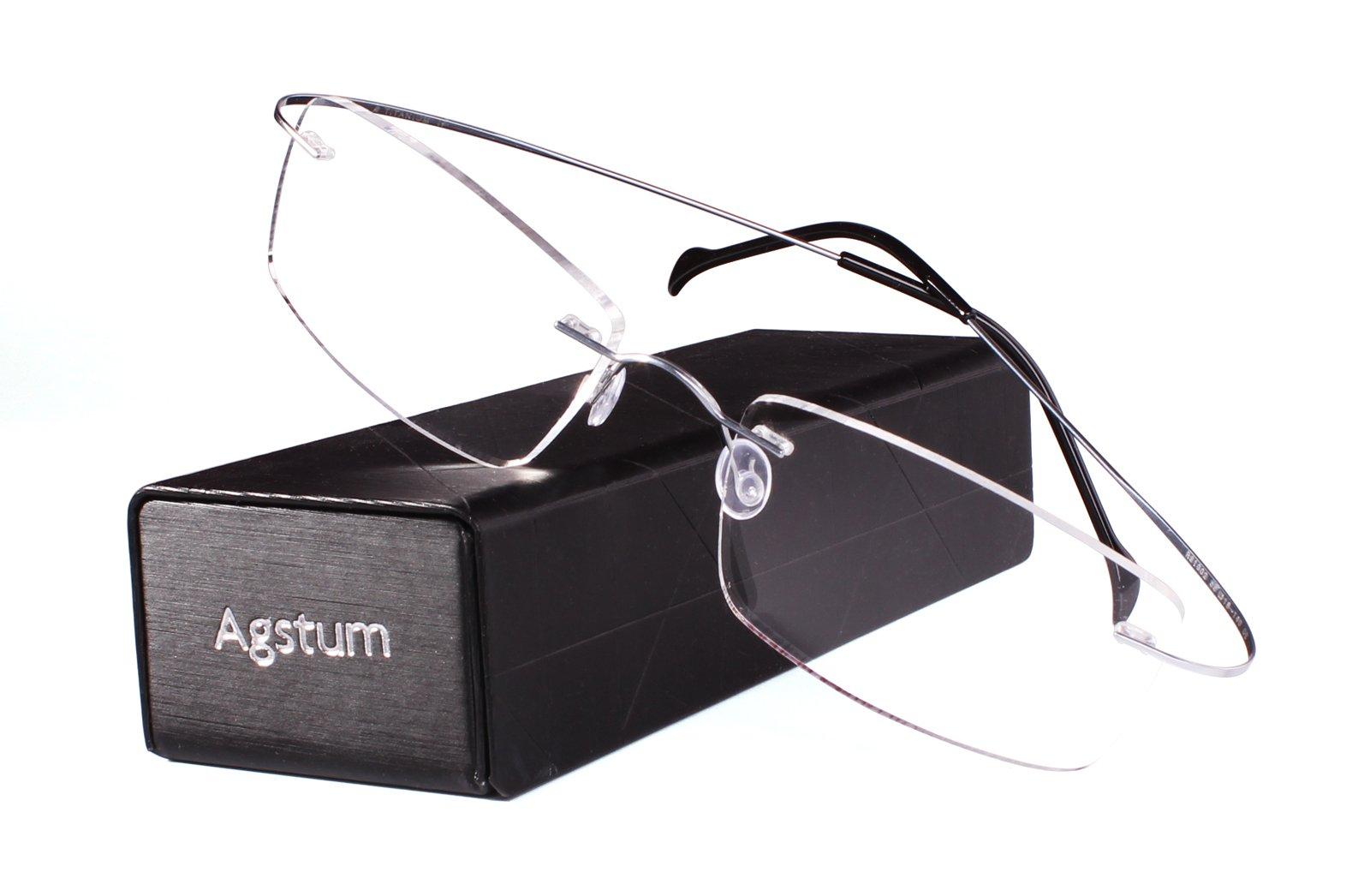 Agstum Pure Titanium Rimless Frame Prescription Hingeless Eyeglasses Rx (Silver, 55) by Agstum