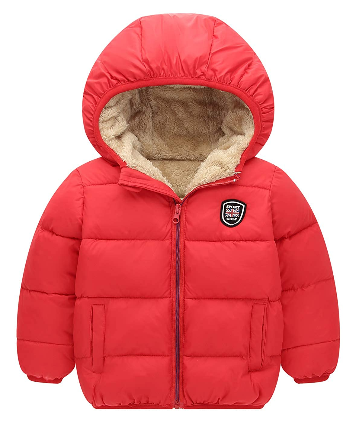 Happy Cherry Girls Down Jacket Boys Hooded Winter Warm Coat Puffer Outerwear