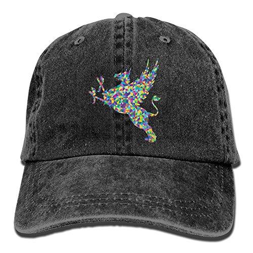 YUA85FSW Neutral Low Poly Prismatic Vintage Griffin Silhouette Hat Cotton Denim Fabric Hat Designed Cowboy Hat (Silhouette Poms)