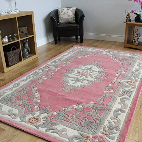 Aubusson Runner Wool (100% Wool Baby Pink Shabby Chic Traditional Aubusson Design Rug - 2'4