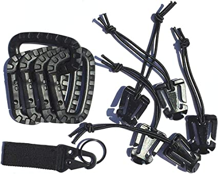 5 Molle Web Dominator Elastic Strings 5 D-Ring Locking Hanging Hook Tactical Link Snap Keychain 11 Pcs Tactical Attachments for 1 EDC Molle Webbing Keychain