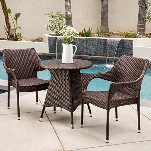Clayton Patio Furniture Outdoor 3pc Multibrown Wicker Bistro Set Green An
